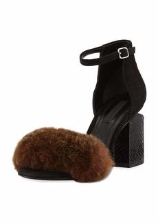 Alexander Wang Abby Fur Tilt-Heel City Sandals