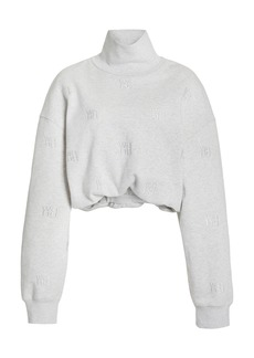 Alexander Wang - Women's Embroidered Cotton-Knit Turtleneck Sweater - Grey - Moda Operandi
