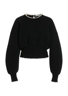 Alexander Wang - Women's Pearl-Embellished Wool-Blend Sweater - Black - Moda Operandi