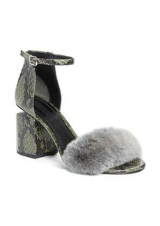 Alexander Wang Abby Genuine Rabbit Fur & Snakeskin Sandal (Women)