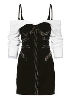 Alexander Wang Pin-Embroidered Poplin Sleeve Dress