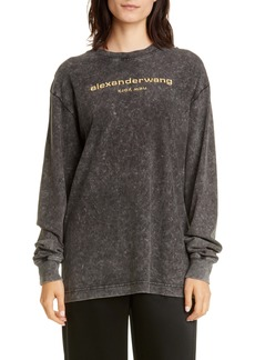 Alexander Wang Acid Wash Long Sleeve Logo Tee