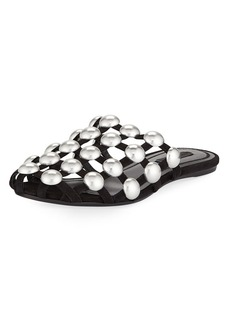 Amelia Studded Caged Suede Mule Flat