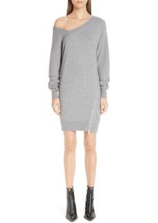 Alexander Wang Asymmetrical Zip Detail Wool & Cashmere Blend Sweater Dress