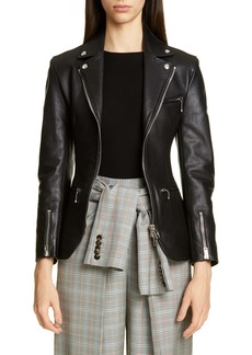 Alexander Wang Ball Chain Peplum Leather Moto Jacket