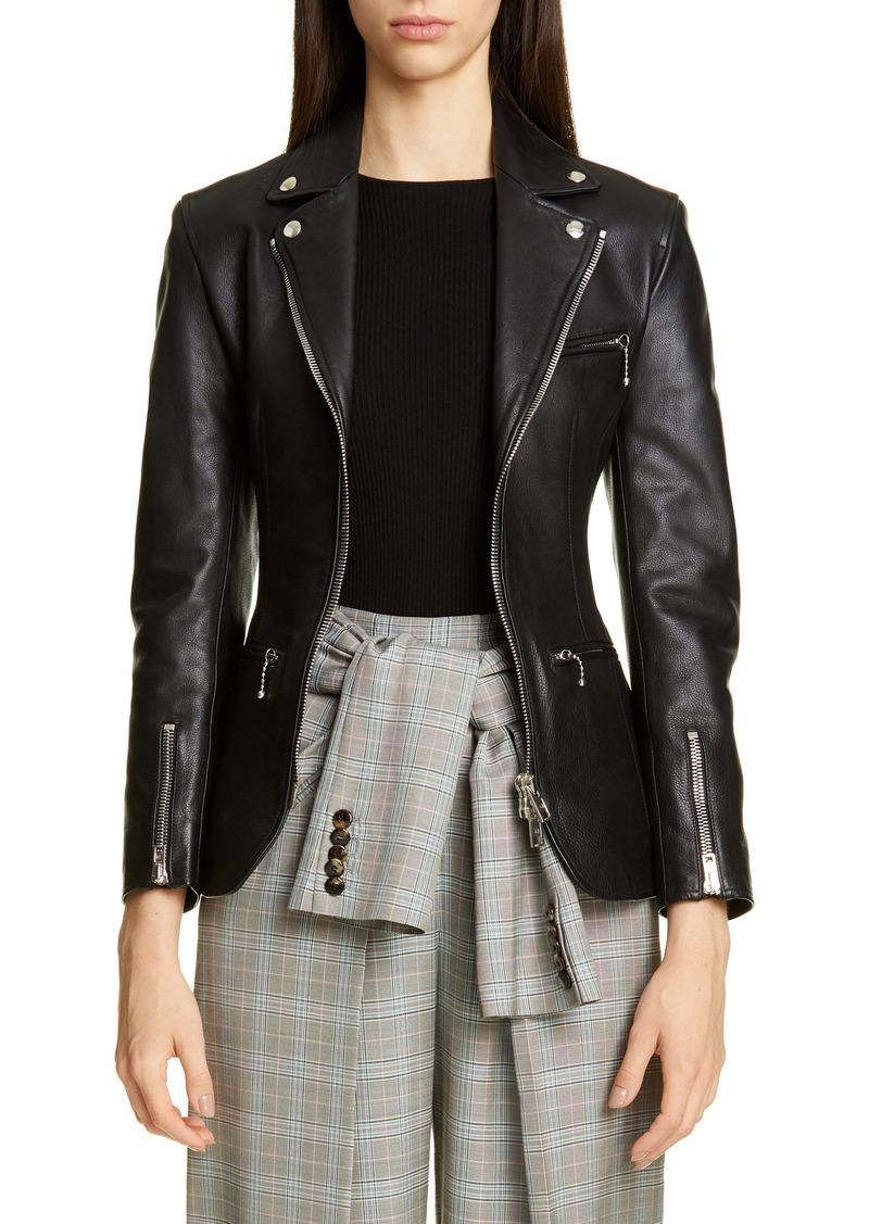 Alexander Wang Ball Chain Peplum Leather Moto Jacket
