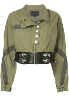Alexander Wang belted cropped jacket - Green