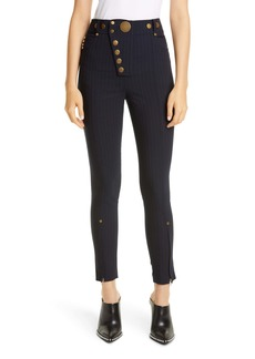 Alexander Wang Button Detail Pinstripe Leggings