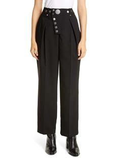 Alexander Wang Button Detail Pleated Wide Leg Trousers
