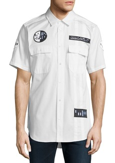 Alexander Wang Button-Down Short-Sleeve Shirt with Patches