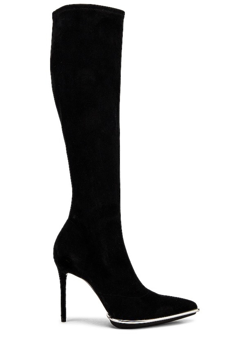 Alexander Wang Cara Knee High Black Stretch Suede Boot