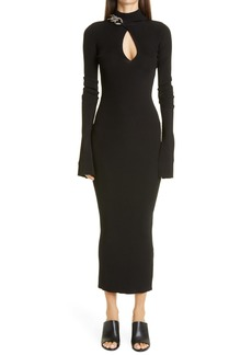 Alexander Wang Chain Detail Long Sleeve Body Con Dress