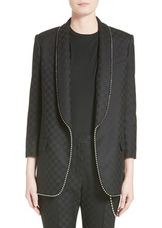 Alexander Wang Chain Trim Checkerboard Wool Blazer