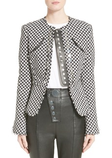 Alexander Wang Check Tweed Peplum Jacket