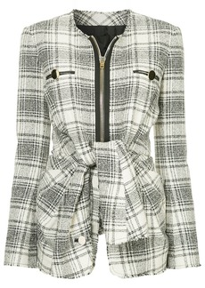 Alexander Wang checked tie-front jacket - White