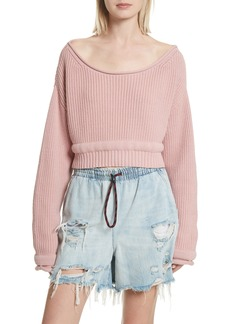 T by Alexander Wang Chunky Boatneck Crop Sweater