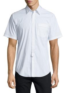 Alexander Wang Contrast-Stitch Short-Sleeve Shirt