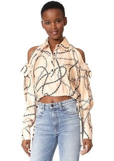Alexander Wang Cropped Mens Shirt with Slit Shoulders