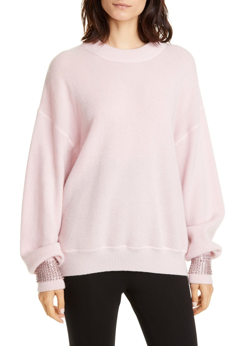 Alexander Wang Crystal Cuff Wool Blend Sweater