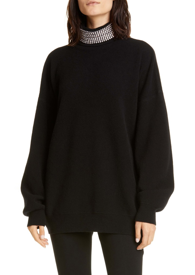 Alexander Wang Crystal Neck Wool Blend Sweater