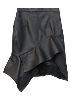Alexander Wang Deconstructed Ruffle Hem Leather Miniskirt