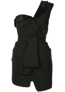 Alexander Wang deconstructed tie front tuxedo dress - Black