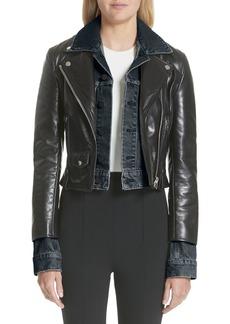 Alexander Wang Denim & Leather Layered Jacket (Nordstrom Exclusive)