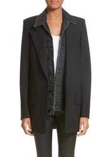 Alexander Wang Denim & Wool Blend Layered Jacket