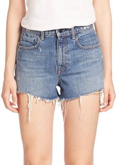Denim x Alexander Wang Bite High-Rise Frayed Denim Shorts