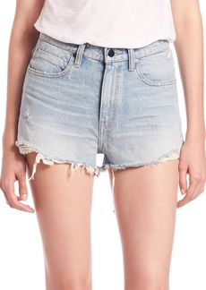 T by Alexander Wang Bite High-Rise Frayed Denim Shorts