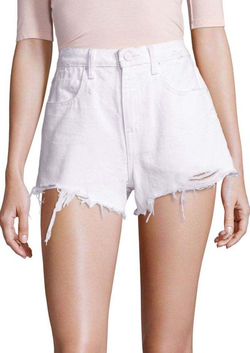 T by Alexander Wang Denim x Alexander Wang Bite High-Rise Frayed Hem Denim Shorts