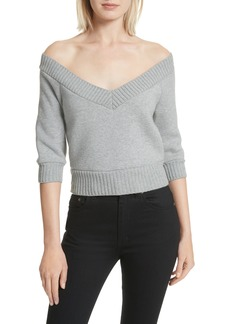 T by Alexander Wang Dense Off the Shoulder V-Neck Fleece Sweater