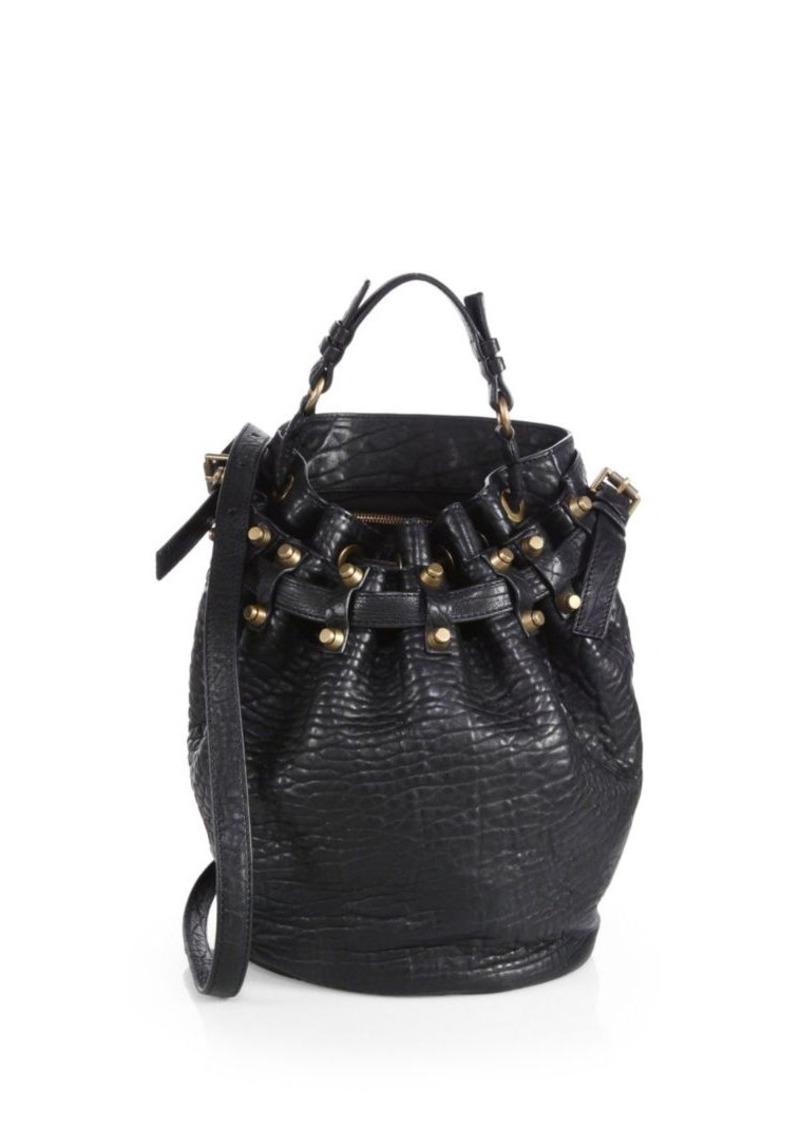 Alexander Wang Diego Pebbled Leather Brasstone Hardware Bucket Bag 9d0f5c6c44e52