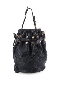 Alexander Wang Diego Pebbled Leather Nickle Hardware Bucket Bag