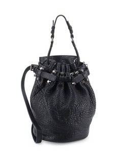 Alexander Wang Diego Pebbled Leather Silvertone Hardware Bucket Bag
