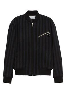 Alexander Wang Double Face Stripe Wool Blend Bomber Jacket