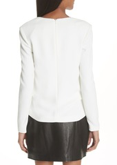 Alexander Wang Draped Long Sleeve Crepe Blouse