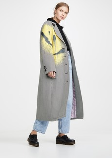 Alexander Wang Drop Shoulder Coat with Spray Paint Happy