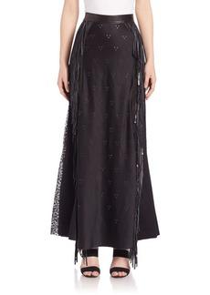 Alexander Wang Embellished Leather-Trim Skirt