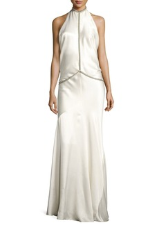 Alexander Wang Fishbone-Chain Backless Satin Evening Gown