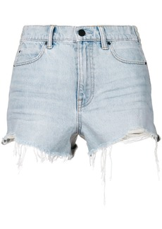 Alexander Wang frayed denim shorts - Blue