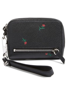 Alexander Wang Fumo Rose Grainy Leather Wristlet