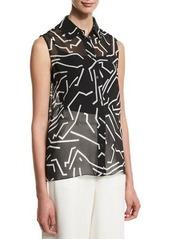 Alexander Wang Graphite Sleeveless Button-Front Blouse