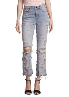 Alexander Wang High-Rise Distressed Cropped Flared Jeans