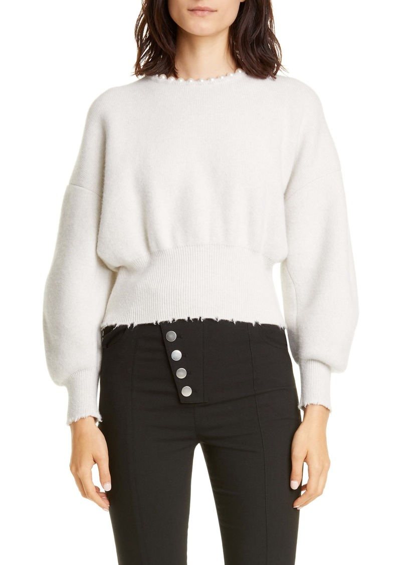 Alexander Wang Imitation Pearl Trim Wool & Cashmere Blend Sweater