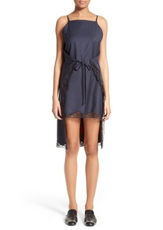 Alexander Wang Lace Trim Pinstripe Apron Dress