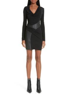 Alexander Wang Leather Detail Cowl Neck Jersey Dress