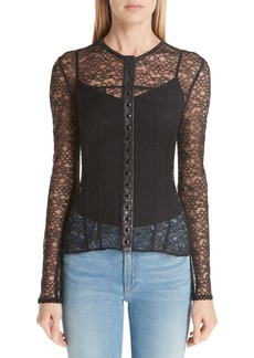Alexander Wang Leather Trim Lace Blouse