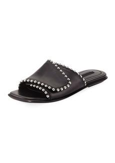 Alexander Wang Leidy Studded Leather Flat Slide Sandal