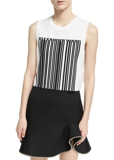 Alexander Wang Logo Bar Code Crop Top  Eggshell